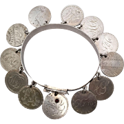 Special Mid-Victorian Love Token Bracelet with 11 Seated Liberty Dimes, 1 Capped Bust Dime ...