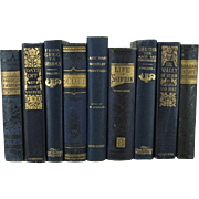 Victorian Blue Decorative Book Collection, Set of 9