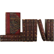 An Antique Leather-Bound Decorative  Book Collection of Sir Walter Scott, S/10