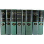 Vintage Set of Shades of Green and Turquoise Modern Library Series, S/8