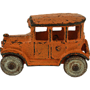 Vintage Hubley Cast Iron Orange Sedan c. 1920