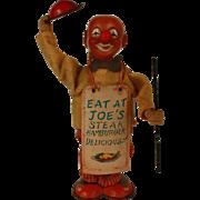 "Vintage Japan Ko-Ko Mechanical ""Sandwich Man"" Tin Wind-up Toy Clown"