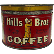 Vintage Hills Brothers Coffee Tin c. 1932