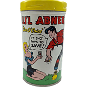 """1953 LI'l Abner's """"Can o Coins"""" Bank"""