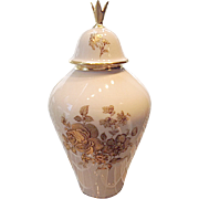 Vintage 1940's Nora Fenton Gold Rose Porcelain Ginger Jar or Urn