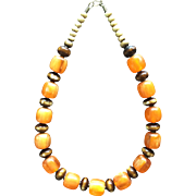 Fabulous BAKELITE Huge Amber and Bone Beads Vintage Necklace