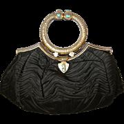 1920's 30's Purse Art Deco Black Taffeta Authentic Turquoise Stones Etched Brass