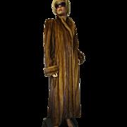 Female MINK Fur Coat Brown Whiskey FULL LENGTH Tall M-L EXCELLENT