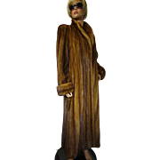 Female MINK Fur Coat Demi Buff Whiskey Full Length Tall M-L EXCELLENT