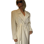 OLEG CASSINI Llama Hair Trench Coat Ivory
