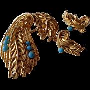 SALE Wheat Sheaf Pin,Earrings Gold Tone/Numbered