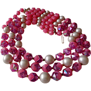 SALE Western Germany Cotton Candy Pink, Purple, White Beaded 3 Strand Vintage Necklace