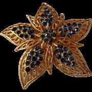 SALE Vintage Coro Five Point Flower Teal Blue Rhinestones Brooch