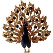 SALE Peacock Blue Enamel with Green and Clear Rhinestones Brooch Marked
