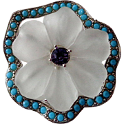 Vintage Frosted Lucite Flower With Silver Tone and Turquoise Blue Edging Brooch