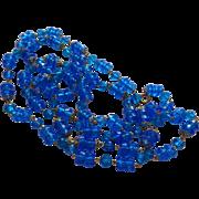 SALE Sparkling Pretty Blue Plastic Beaded Necklace Vintage