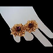 SALE Lisner Gold Tone Purple Rhinestone Clip On Earrings Vintage