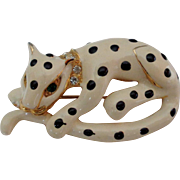 SALE Creamy Ivory Enamel Black Dotted Green Rhinestone Eyes Leopard Brooch Vintage Signed