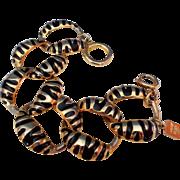 Vintage Anne Klein Gold Tone Black Zebra Striped Bracelet