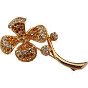 SALE Lovely JBK Camrose and Kross Clover Brooch with Clear, Gold Tone and AB Crystals