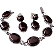SALE Liz Claiborne Chocolate Brown Nuggets in Silver Tone Bracelet and Earring Set Vintage