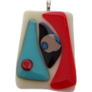 Abstract Modernistic Glass Pendant Vintage