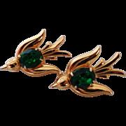 Pegasus Coro Birds Emerald Green Glass Stone Pins Vintage
