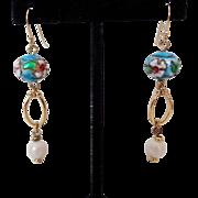 Blue Cloisonne Faux Pearl Dangle Pierced Earrings Vintage