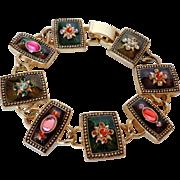 Napier Gold Tone Enamel Bracelet Vintage