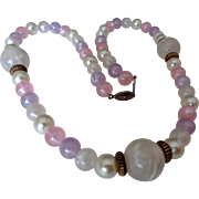 Pearlized Frosted Plastic White Pink Mauve Beaded Necklace Vintage