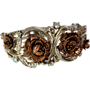 Silver Tone Clamper Bracelet with Coppertone Roses AB Stones Vintage
