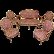 SALE Antique Louis XVI Style Giltwood Parlor Set- Settee & Four Fauteuils