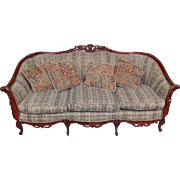 SALE Antique Naturalistic Rococo Revival Style Rosewood Sofa with Four Pillows