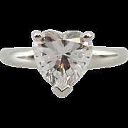 Estate 14k White Gold Heart Shaped Cz Ring