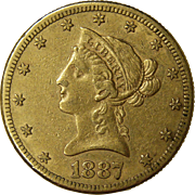 1887-S Ten Dollar Liberty Head $10 Gold Coin