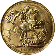 1908 Edward VII Perth Mint British Gold Sovereign Coin