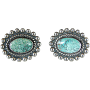 Pair Southwest Sterling Silver Turquoise Inlaid Cuff Links
