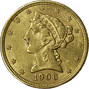 SOLD 1906 S Liberty Head $5 Dollar Gold Coin