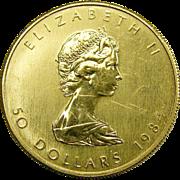 1984 Canada 1 Troy oz Gold Maple Leaf .9999 Coin