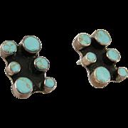 Vintage Estate Native American Turquoise Sterling Earrings