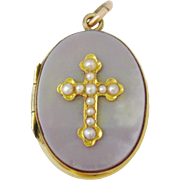 Victorian 15ct Gold Agate Pearl Cross Locket
