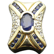 SALE Vintage 14kt yellow gold diamond and sapphire KLEIN bracelet slide