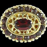 SALE Vintage 10kt yellow gold and garnet KLEIN bracelet slide