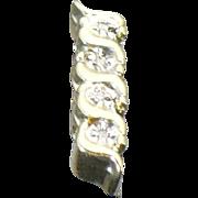 "Vintage 14kt yellow gold and diamond  ""KLEIN"" slide #2"