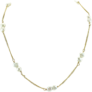 SALE Circa 1975 Keshi pearl and 14kt gold chain necklace