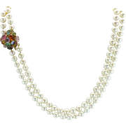 SALE Vintage 14kt gemstone clasp double strand pearl necklace. 19 inches