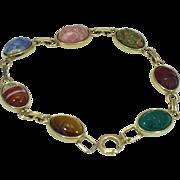 Vintage natural stone scarab bracelet