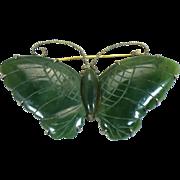 SALE Vintage nephrite jade butterfly brooch