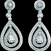 18k Diamond Earrings Tear Drop Dangle 3.53ctw Gatsby Era Style White Gold