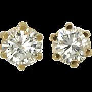 14K Diamond Stud Earrings Yellow Gold Ladies